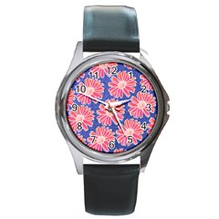 Pink Daisy Pattern Round Metal Watch