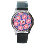 Pink Daisy Pattern Round Metal Watch Front