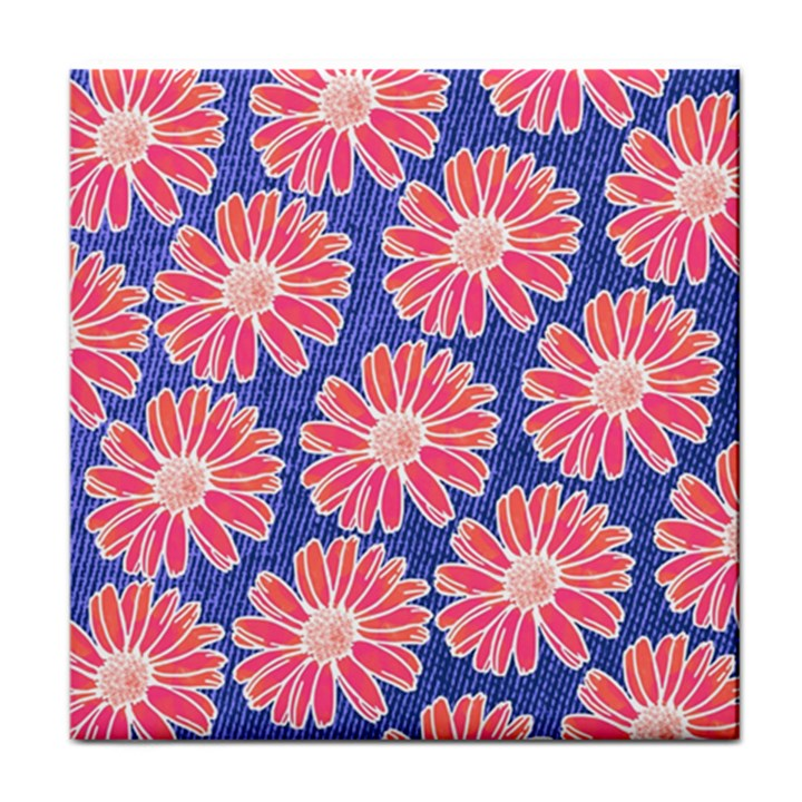 Pink Daisy Pattern Tile Coasters