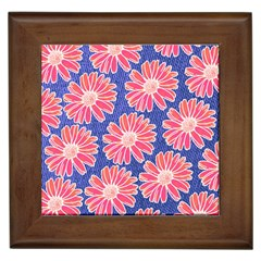 Pink Daisy Pattern Framed Tiles