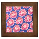 Pink Daisy Pattern Framed Tiles Front
