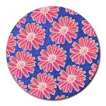 Pink Daisy Pattern Round Mousepads Front