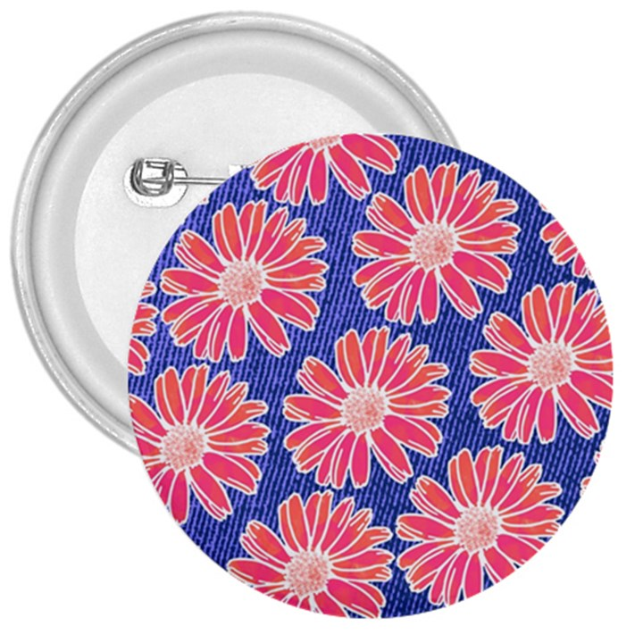 Pink Daisy Pattern 3  Buttons