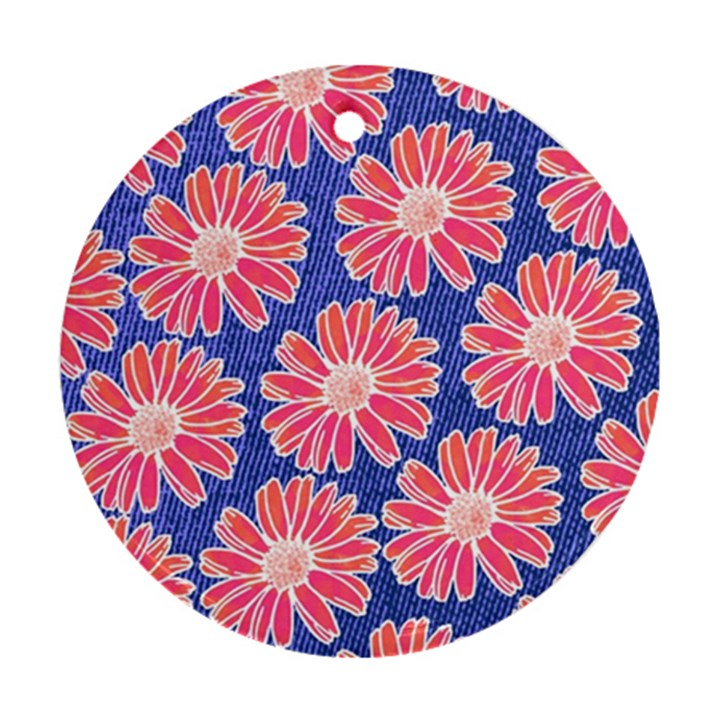 Pink Daisy Pattern Ornament (Round)