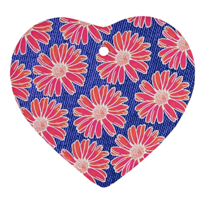 Pink Daisy Pattern Ornament (Heart)