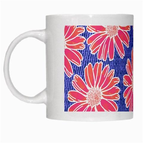 Pink Daisy Pattern White Mugs