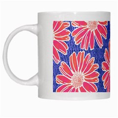 Pink Daisy Pattern White Mugs