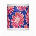 Pink Daisy Pattern White Mugs Center