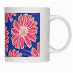 Pink Daisy Pattern White Mugs Right