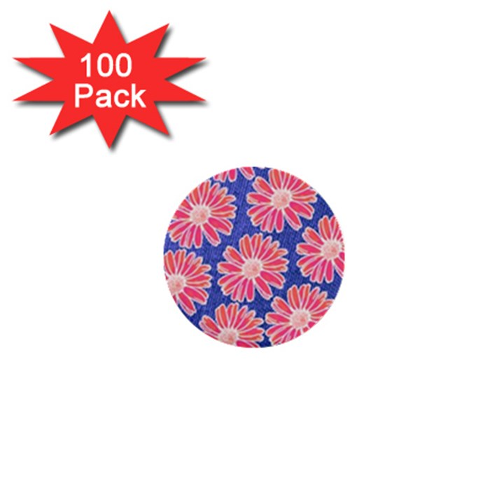 Pink Daisy Pattern 1  Mini Buttons (100 pack)