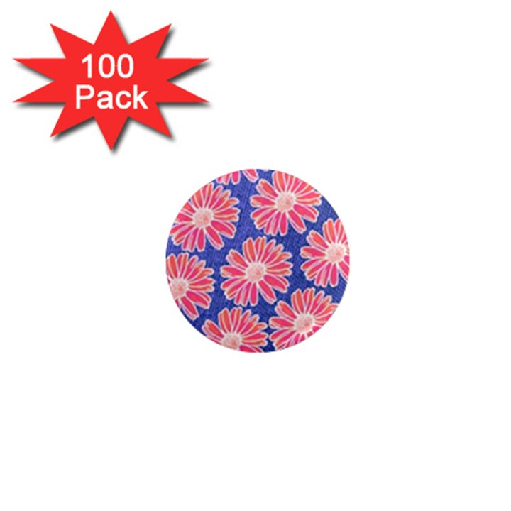Pink Daisy Pattern 1  Mini Magnets (100 pack)