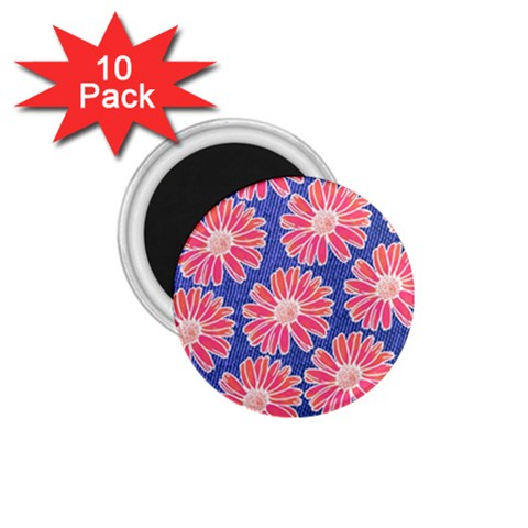 Pink Daisy Pattern 1.75  Magnets (10 pack)
