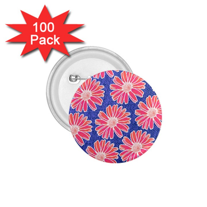 Pink Daisy Pattern 1.75  Buttons (100 pack)