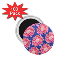 Pink Daisy Pattern 1 75  Magnets (100 Pack)