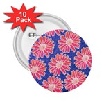 Pink Daisy Pattern 2.25  Buttons (10 pack)  Front