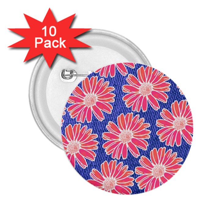 Pink Daisy Pattern 2.25  Buttons (10 pack)