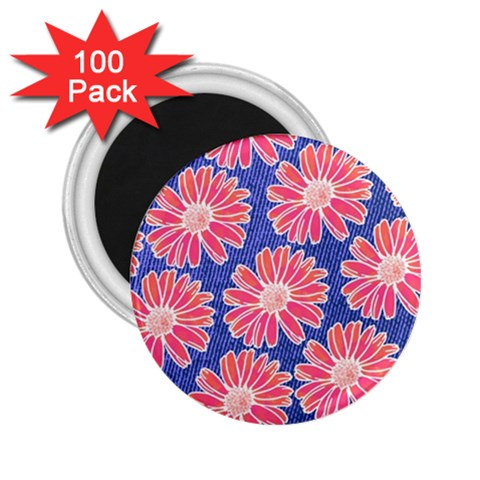 Pink Daisy Pattern 2.25  Magnets (100 pack)