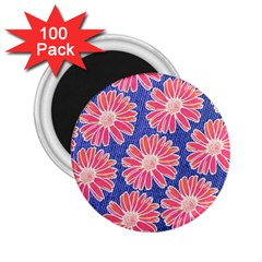Pink Daisy Pattern 2 25  Magnets (100 Pack)