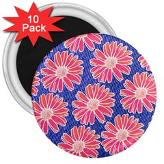 Pink Daisy Pattern 3  Magnets (10 Pack)