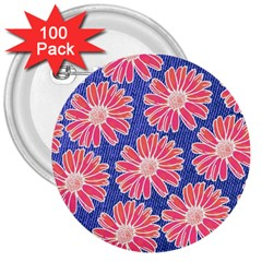 Pink Daisy Pattern 3  Buttons (100 Pack)
