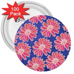 Pink Daisy Pattern 3  Buttons (100 pack)  Front