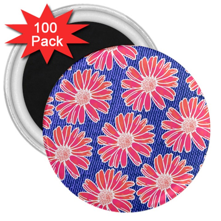 Pink Daisy Pattern 3  Magnets (100 pack)