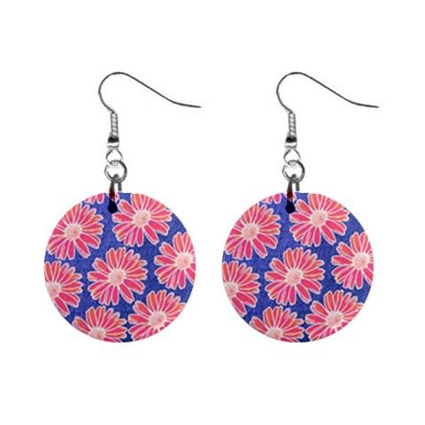 Pink Daisy Pattern Mini Button Earrings
