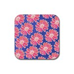 Pink Daisy Pattern Rubber Coaster (Square)  Front