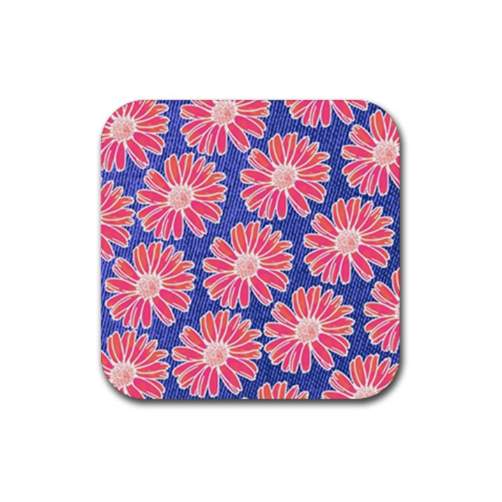 Pink Daisy Pattern Rubber Square Coaster (4 pack)