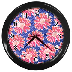 Pink Daisy Pattern Wall Clocks (Black)