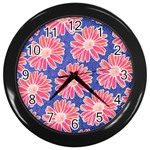 Pink Daisy Pattern Wall Clocks (Black) Front