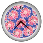 Pink Daisy Pattern Wall Clocks (Silver)  Front