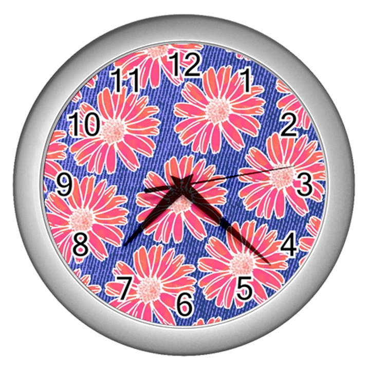 Pink Daisy Pattern Wall Clocks (Silver)