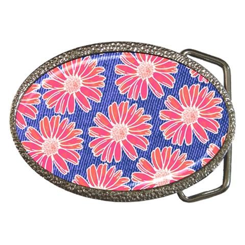 Pink Daisy Pattern Belt Buckles