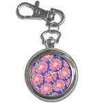 Pink Daisy Pattern Key Chain Watches Front