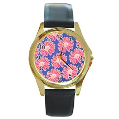 Pink Daisy Pattern Round Gold Metal Watch