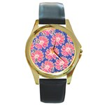Pink Daisy Pattern Round Gold Metal Watch Front