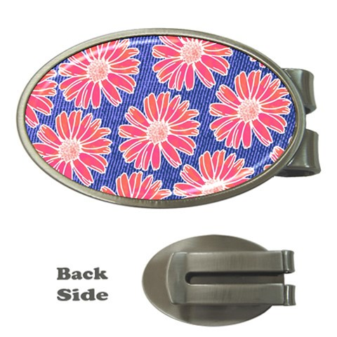 Pink Daisy Pattern Money Clips (Oval)