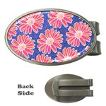 Pink Daisy Pattern Money Clips (Oval)  Front