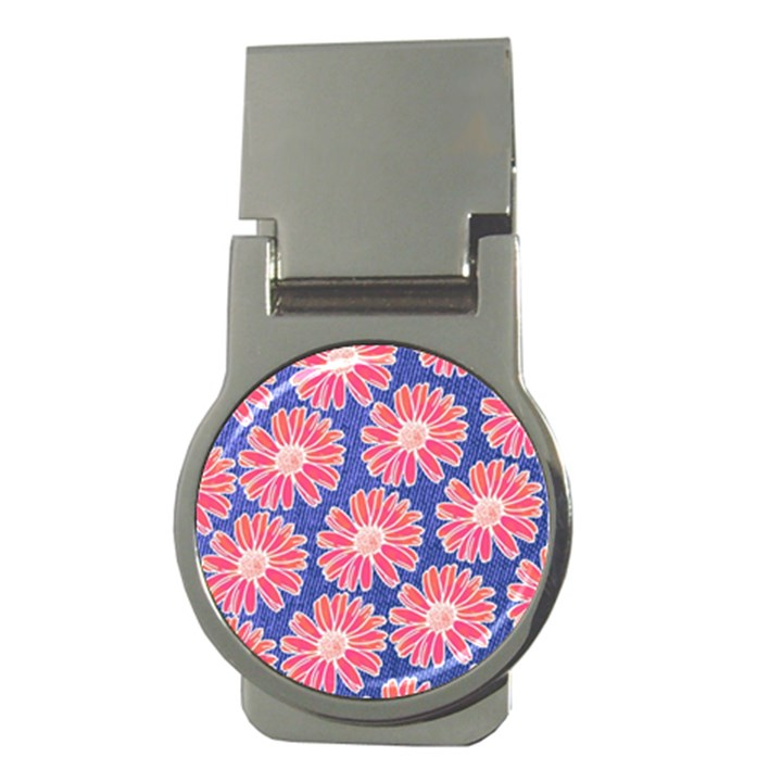 Pink Daisy Pattern Money Clips (Round)