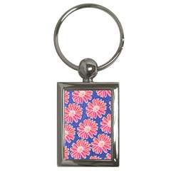 Pink Daisy Pattern Key Chains (Rectangle)