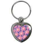 Pink Daisy Pattern Key Chains (Heart)  Front