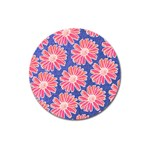 Pink Daisy Pattern Magnet 3  (Round) Front