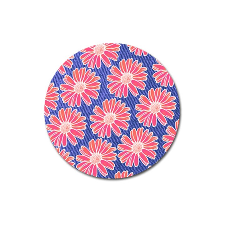 Pink Daisy Pattern Magnet 3  (Round)