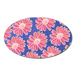 Pink Daisy Pattern Oval Magnet Front