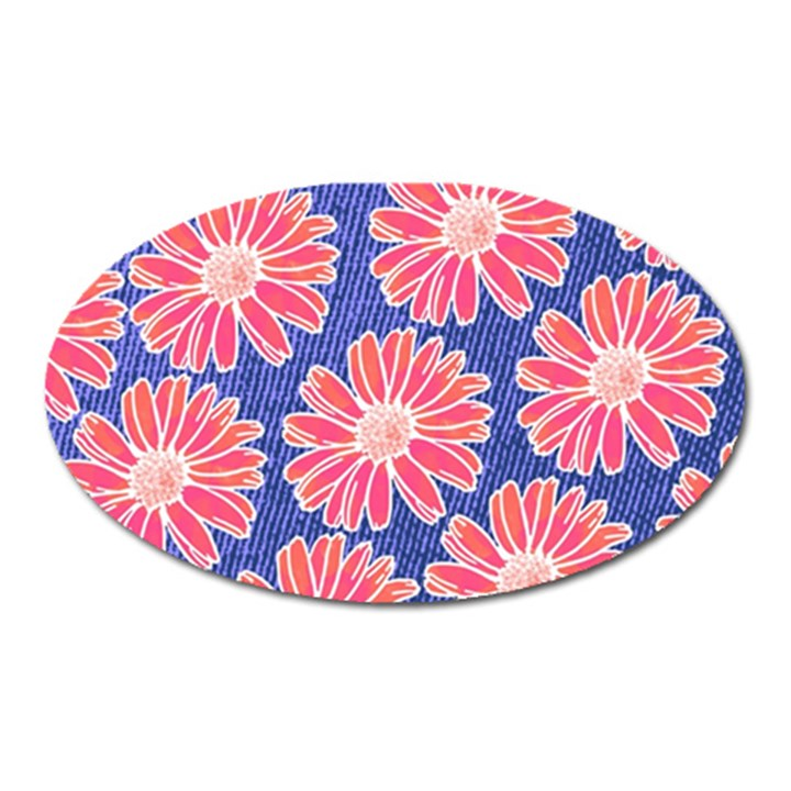 Pink Daisy Pattern Oval Magnet