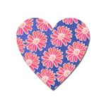 Pink Daisy Pattern Heart Magnet Front