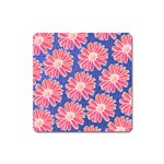 Pink Daisy Pattern Square Magnet Front