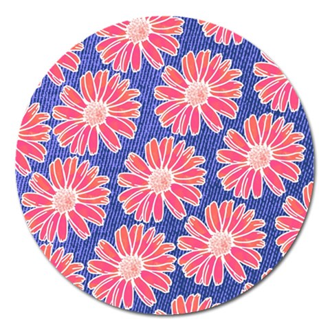 Pink Daisy Pattern Magnet 5  (Round)