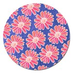 Pink Daisy Pattern Magnet 5  (Round) Front